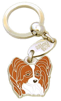 PAPILLON WHITE & RED - pet ID tag, dog ID tags, pet tags, personalized pet tags MjavHov - engraved pet tags online